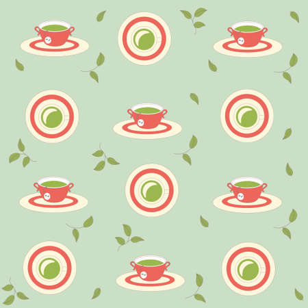seamless pattern background with cups of tea in vector Vector