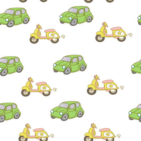 chaotic: seamless pattern background with colorful little cars in vector Illustration
