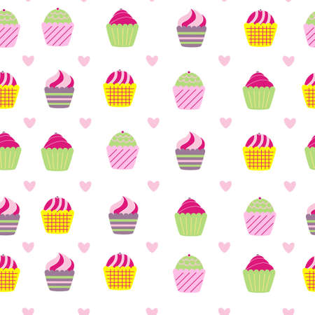 seamless pattern background with sweet cupcake in vector Vector