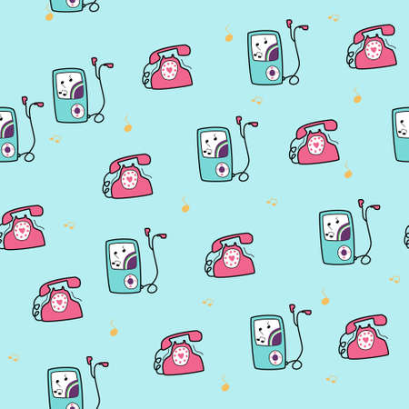 telephones: seamless pattern background with Vintage and modern telephones in vector Illustration