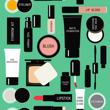 makeup brushes: seamless pattern background with Makeup products in vector Illustration
