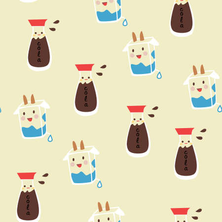 seamless pattern background with Carton of milk in vector Vector