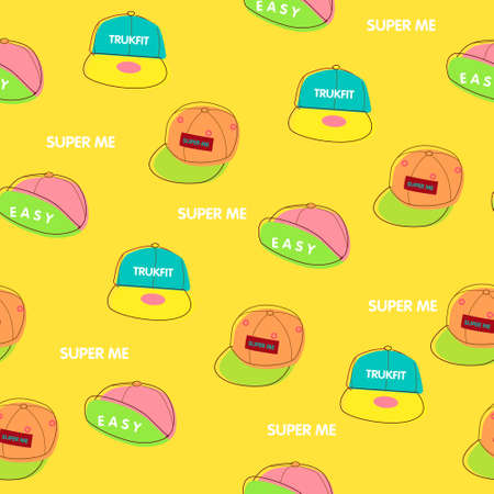 seamless pattern background with cap in vector Vector