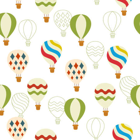 ballooning: seamless pattern background with colorful hot balloons in vector
