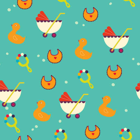 prams: seamless pattern background with prams in vector