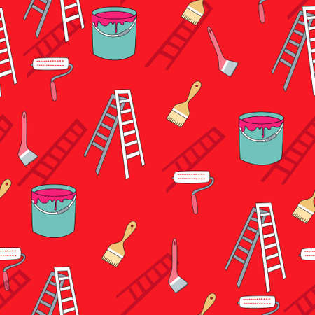 paper hanger: seamless pattern background with painter tools in vector Illustration