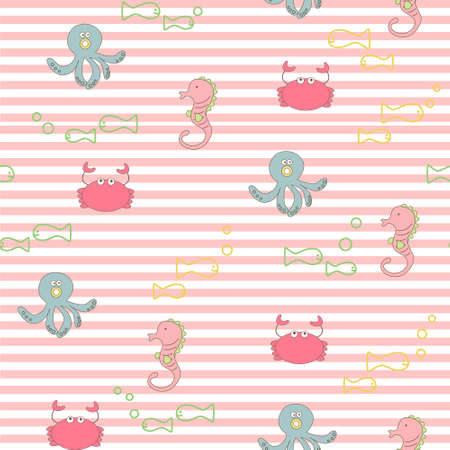seamless pattern background with sea animals in vector Vector