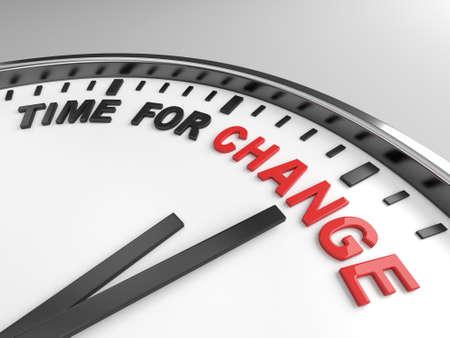 Uhr mit Worten Zeit für den Wandel auf ihr Gesicht Standard-Bild