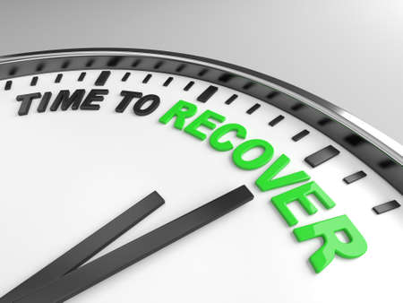 better icon: Clock with words time to recover on its face Stock Photo