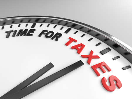 internal revenue service: Clock with words time for taxes on its face Stock Photo