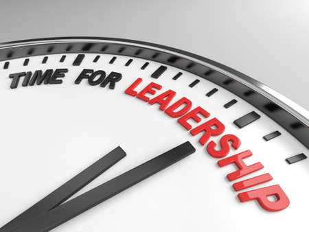 influence: Clock with words time for leadership on its face Stock Photo