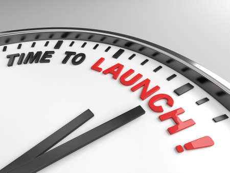 commence: Clock with words time to launch on its face