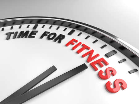 time change: Clock with words time for fitness on its face Stock Photo
