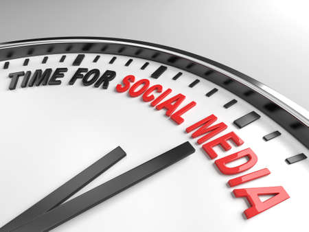 time change: Clock with words time for social media on its face Stock Photo