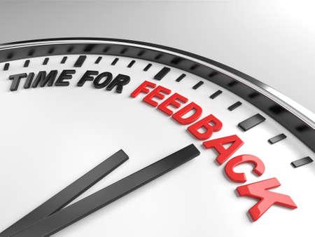 Klok met woorden tijd voor feedback op het eerste gezicht