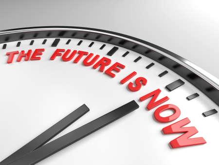 미래의 단어가 시계에 표시됩니다. 스톡 콘텐츠