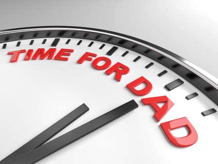 Uhr mit Worten Zeit für Vati auf seinem Gesicht Standard-Bild - 31118409