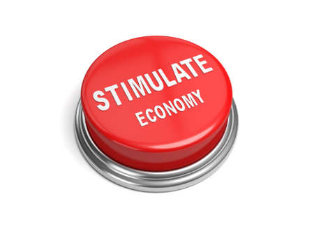 stimulus: A red button with the word stimulate economy on it business, Stock Photo