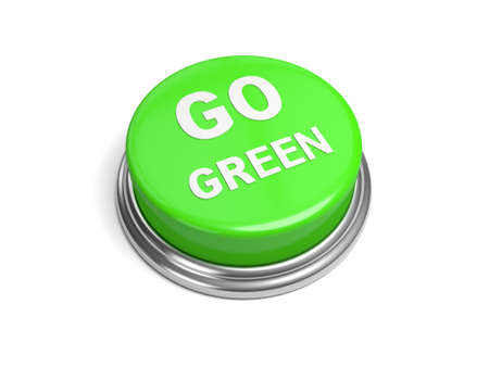 petrol powered: A green button with the word go green on it Stock Photo