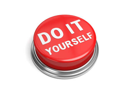A red button with the word do it yourself on it Imagens