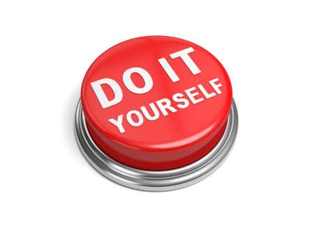Een rode knop met het woord doe het zelf op Stockfoto