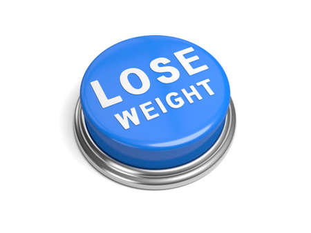 overeat: A blue button with the word lose weight on it Stock Photo