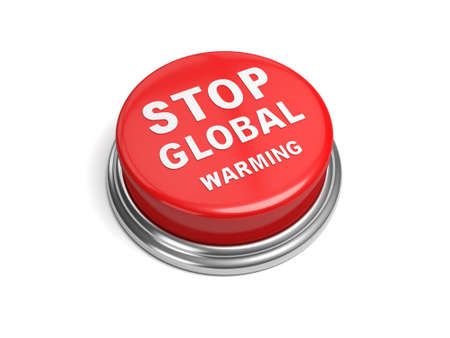 stop global warming: A red button with the word stop global warming on it Stock Photo