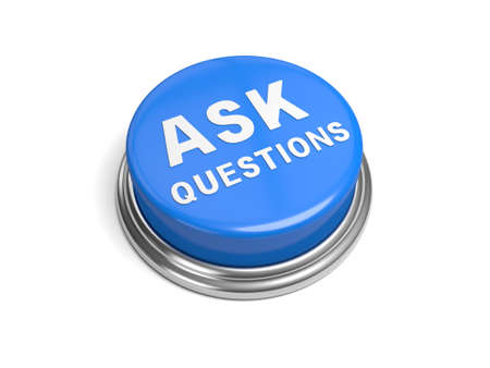 A blue button with the word ask questions on it Stock Photo