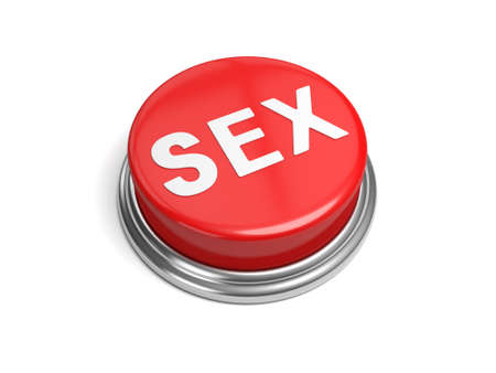 A red button with the word sex on it Stock Photo