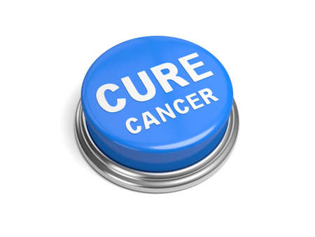 testicular cancer: A blue button with the word cure cancer on it