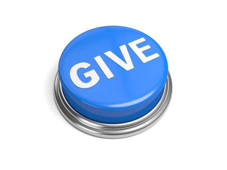 Een blauwe knop met het woord te geven op het Stockfoto