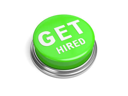 hired: A green button with the word get hired on it