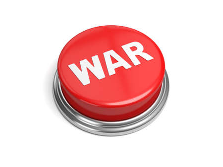 hostility: A red button with the word war on it