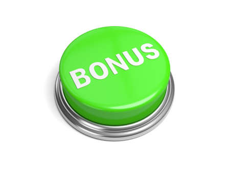 fringe benefit: A green button with the bonus on it Stock Photo