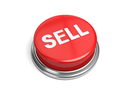 marked down: A red button with the word sell on it