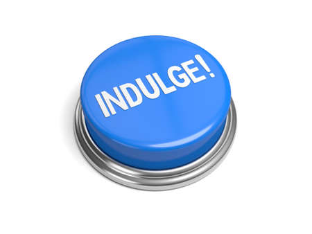 guilty pleasures: A blue button with the word indulge on it