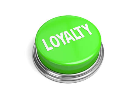 dutiful: A green button with the loyalty on it Stock Photo