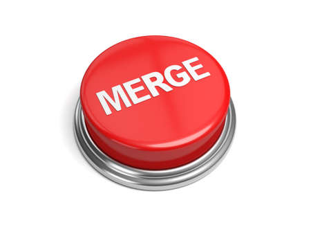 consolidate: A red button with the word merge on it Stock Photo