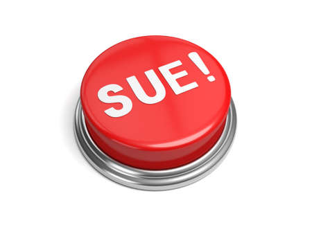 lawsuit: A red button with the word sue on it Stock Photo