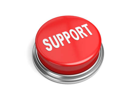 stronger: A red button with the word support on it