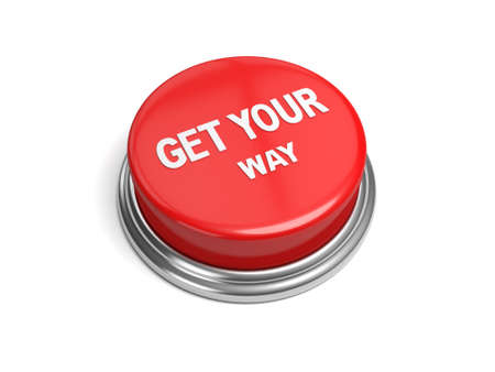 persuasive: A red button with the word get your way on it