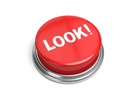 alarming: A red button with the word look on it Stock Photo
