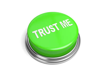 perceive: A green button with the trust me on it Stock Photo