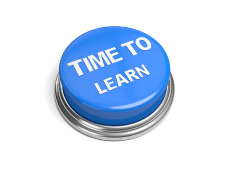 A blue button with the word time to learn on it