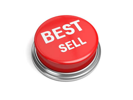 praised: A red button with the word best sell on it Stock Photo