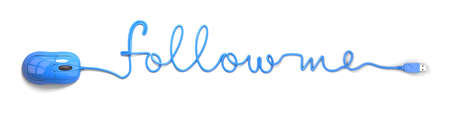 follow us: Blue mouse and cable in the shape of follow me Stock Photo