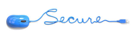 secure: Blue mouse and cable in the shape of secure Stock Photo