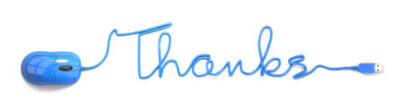 blue you: Blue mouse and cable in the shape of thanks