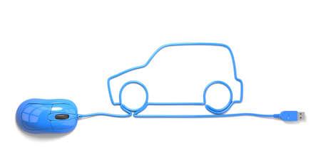 muis en kabels in de vorm van auto op een witte achtergrond Stockfoto