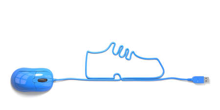 mouse and cables in form of shoes on a white background photo